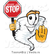 Vector of a Cartoon Tornado Mascot Holding a Stop Sign by Toons4Biz