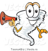 Vector of a Cartoon Tornado Mascot Holding Megaphone by Toons4Biz