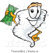 Vector of a Cartoon Tornado Mascot Holding Money by Toons4Biz