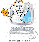 Vector of a Cartoon Tornado Mascot Inside a Computer Screen by Toons4Biz