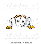 Vector of a Cartoon Tornado Mascot Peeking over a Blank Wall by Toons4Biz