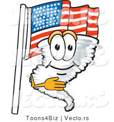 Vector of a Cartoon Tornado Mascot Pledging Allegiance with an American Flag by Toons4Biz