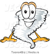Vector of a Cartoon Tornado Mascot Sitting with a Smile by Toons4Biz