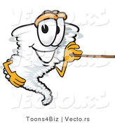 Vector of a Cartoon Tornado Mascot Using a Pointer Stick by Toons4Biz