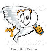 Vector of a Cartoon Tornado Mascot with a Magnifying Glass by Toons4Biz
