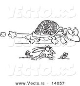 Vector of a Cartoon Tortoise Flying over a Hare - Coloring Page Outline by Ron Leishman