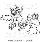 Vector of a Cartoon Tortoise Flying with Pilot Goggles - Outlined Coloring Page by Ron Leishman
