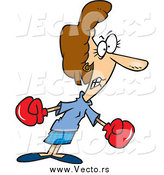 Vector of a Cartoon Tough Businesswoman Boxing by Ron Leishman