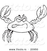 Vector of a Cartoon Tough Crab - Coloring Page Outline by Toonaday