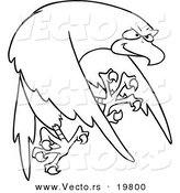 Vector of a Cartoon Tough Falcon - Outlined Coloring Page by Toonaday