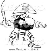 Vector of a Cartoon Tough Pirate with a Sword - Coloring Page Outline by Toonaday
