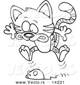 Vector of a Cartoon Toy Mouse Frightening a Tabby Cat - Coloring Page Outline by Toonaday