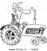 Vector of a Cartoon Tractor Driver - Coloring Page Outline by Toonaday