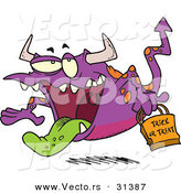 Vector of a Cartoon Trick-or-Treating Purple Halloween Monster by Toonaday