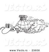 Vector of a Cartoon Turbo Tortoise - Coloring Page Outline by Ron Leishman