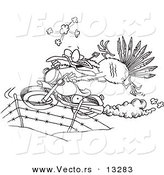Vector of a Cartoon Turkey Bird Escaping on a Motorcycle - Coloring Page Outline by Toonaday