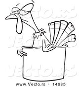 Vector of a Cartoon Turkey Bird in a Pot - Coloring Page Outline by Toonaday