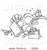 Vector of a Cartoon Turkey Bird Running in Panic with Luggage - Coloring Page Outline by Toonaday