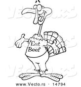 Vector of a Cartoon Turkey Bird Wearing an Eat Beef Shirt - Coloring Page Outline by Toonaday