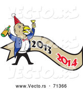 Vector of a Cartoon Turkey Celebrating the New Year over a 2013-2014 Banner by Patrimonio