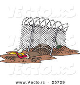 Vector of a Cartoon Turkey Escaping Under a Fence by Toonaday