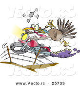Vector of a Cartoon Turkey Jumping over Fence on a Motorcycle by Toonaday