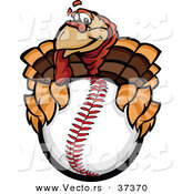Vector of a Cartoon Turkey Mascot Holding a Baseball by Chromaco