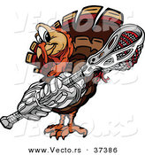 Vector of a Cartoon Turkey Mascot Holding a Lacrosse Stick by Chromaco