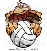 Vector of a Cartoon Turkey Mascot Holding a Volleyball by Chromaco