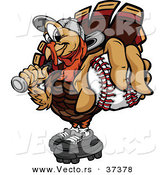 Vector of a Cartoon Turkey Mascot Holding out a Baseball by Chromaco