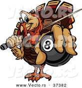 Vector of a Cartoon Turkey Mascot Holding out a Billiards Eight Ball by Chromaco