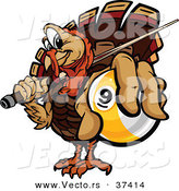 Vector of a Cartoon Turkey Mascot Holding out a Billiards Nine Ball by Chromaco