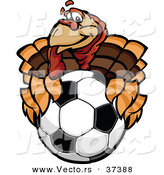 Vector of a Cartoon Turkey Mascot Holding out a Soccer Ball by Chromaco