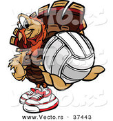 Vector of a Cartoon Turkey Mascot Holding out a Volleyball by Chromaco