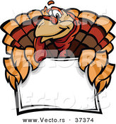 Vector of a Cartoon Turkey Mascot over a Sign by Chromaco