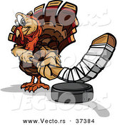 Vector of a Cartoon Turkey Mascot Playing Hockey by Chromaco