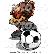 Vector of a Cartoon Turkey Mascot Resting a Foot on a Soccer Ball by Chromaco