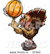 Vector of a Cartoon Turkey Mascot Spinning a Basketball by Chromaco