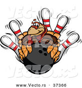 Vector of a Cartoon Turkey Mascot with a Bowling Ball and Pins by Chromaco