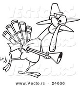 Vector of a Cartoon Turkey Pilgrim Hunting - Outlined Coloring Page by Toonaday