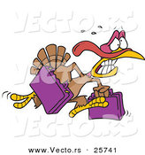 Vector of a Cartoon Turkey Running with Luggage by Toonaday