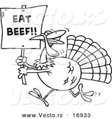 Vector of a Cartoon Turkey with an Eat Beef Sign - Coloring Page Outline by Toonaday