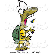 Vector of a Cartoon Turtle Eating Flies by Ron Leishman