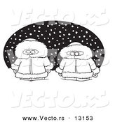 Vector of a Cartoon Two Alaskans in the Snow over a Black Oval - Coloring Page Outline by Toonaday