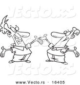 Vector of a Cartoon Two Happy Men Greeting Each Other - Outlined Coloring Page Drawing by Toonaday