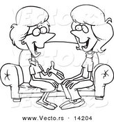 Vector of a Cartoon Two Talkative Women Sitting on a Sofa - Coloring Page Outline by Toonaday