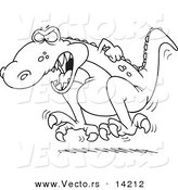 Vector of a Cartoon Tyrannosaurus Rex Throwing a Temper Tantrum - Coloring Page Outline by Toonaday