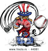 Vector of a Cartoon Uncle Sam Hitting a Home Run Baseball by Chromaco