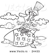 Vector of a Cartoon Uncle Sam Riding a Rocket - Outlined Coloring Page by Toonaday