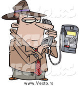 Vector of a Cartoon Undercover Detective Talking Secretively on a Telephone by Toonaday